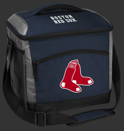 A navy Boston Red Sox 24 can soft sided cooler with screen printed team logos - SKU: 10200024111