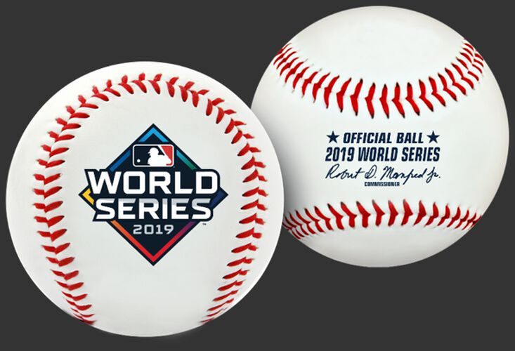 Two views of a 2019 World Series replica ball with the World Series logo printed on one and the Official ball on the other