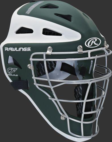 Front right of a dark green/white CHVEL Rawlings Velo adult catcher's helmet