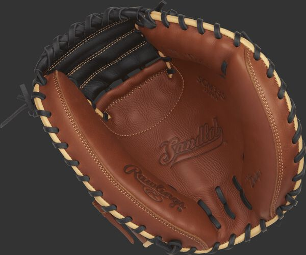SCM33S Sandlot Series 33-inch catcher's mitt with a brown palm and black laces