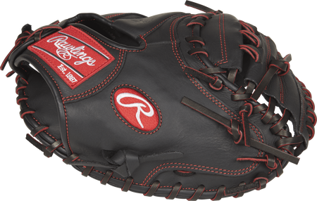Thumb view of a black R9YPTCM32B R9 Series 32-inch youth catcher's mitt with a black one-piece solid web