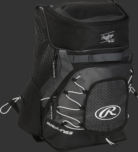 Front right of a black R800 softball backpack