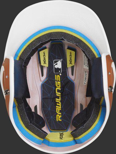 Inside of a Rawlings MACH baseball helmet with IMPAX durable foam padding