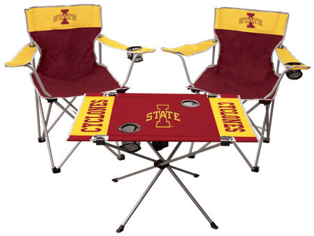 Front of Rawlings Cardinal and Gold NCAA Iowa State Cyclones 3-Piece Tailgate Kit With Two Kickoff Chairs, An Endzone Table, And A Transport Bag With Team Logo SKU #00993031511