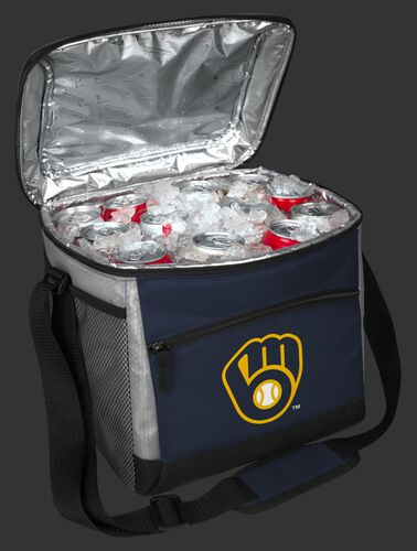 An open Milwaukee Brewers 24 can cooler filled with ice and drinks - SKU: 10200006111