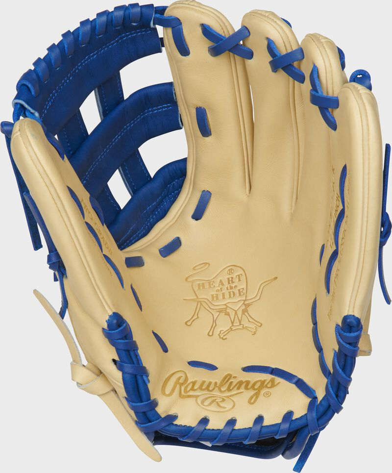 PROKB17-6CR Rawlings Heart of the Hide Color Sync Kris Bryant pattern glove with a camel palm and royal laces