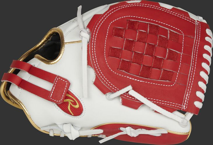 Thumb of a white RLA120-3S Liberty Advanced Color Series 12-inch infield/pitcher's glove with a scarlet Basket web