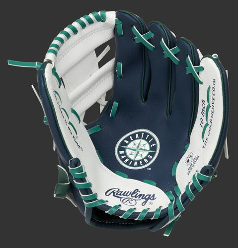 A navy/white Rawlings Seattle Mariners youth glove with a Mariners logo stamped in the palm - SKU: 22000015111