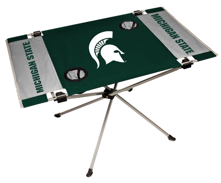 A green/white NCAA Michigan State Spartans endzone table with two cup holders and team logo printed in the middle