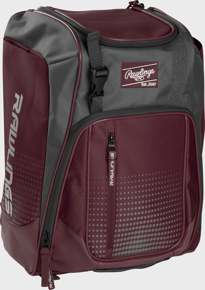 Front left angle of a maroon Rawlings Franchise bag with gray accents - SKU: FRANBP-MA