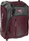 Front left angle of a maroon Rawlings Franchise bag with gray accents - SKU: FRANBP-MA image number null