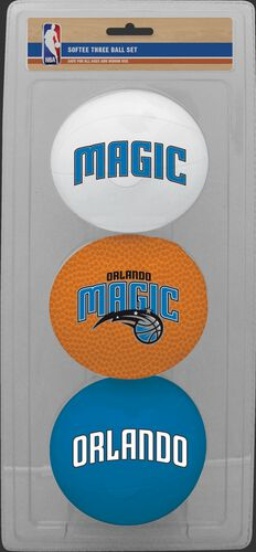 Rawlings White, Brown, and Blue NBA Orlando Magic Three-Point Softee Basketball Set With Team Logo SKU #03524206114