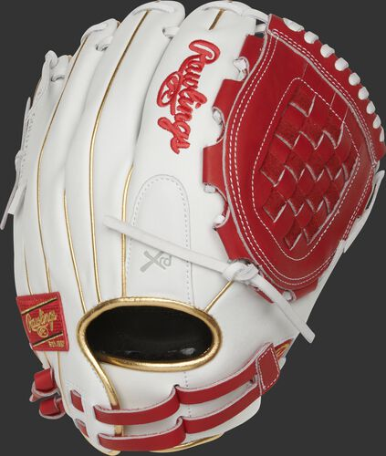 RLA120-3S 12-inch Liberty Advanced infield/pitcher's Basket web glove with a white back and adjustable pull-strap back