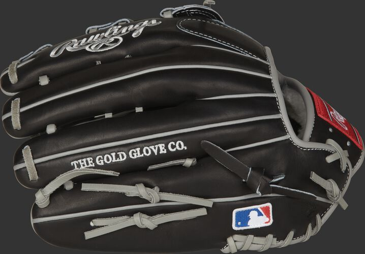 Black back of a Rawlings Gameday 57 Series glove with grey welting and MLB logo on the pinkie - SKU: PROS3039-KK39