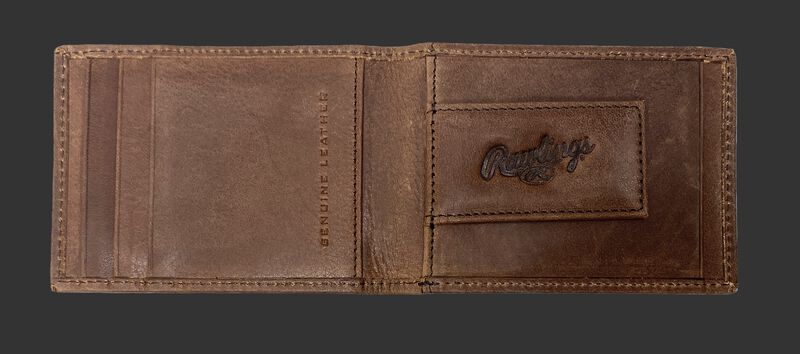 Inside of a brown Rawlings American story front pocket wallet with a magnetic money clip on the right side - SKU: RPW003-200