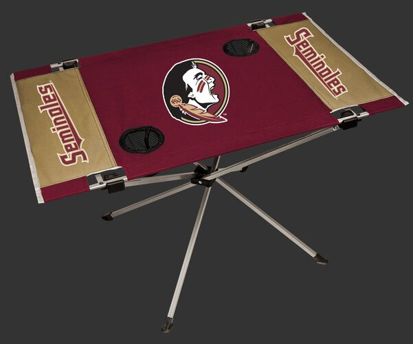 NCAA Florida State Seminoles tailgate table in team colors with a printed team logo in the middle and two cup holders SKU #04053020111