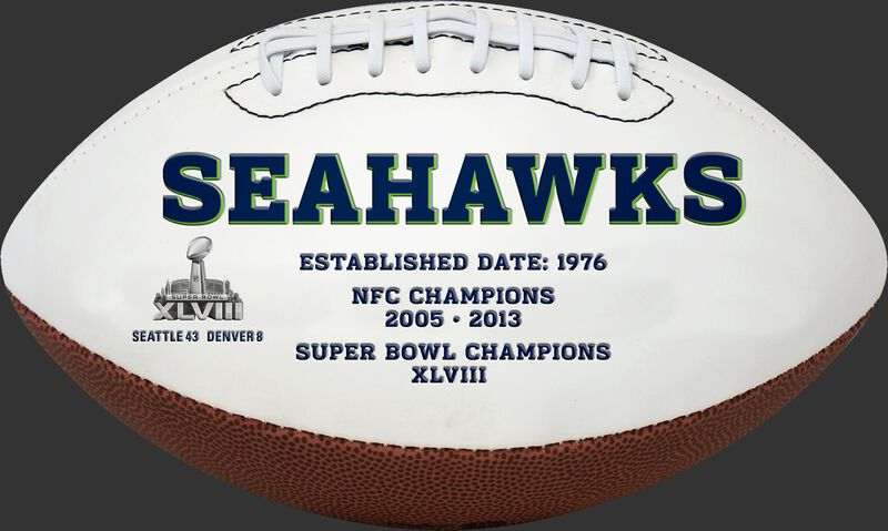White NFL Seattle Seahawks Football With Team Name SKU #06541085811