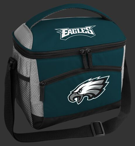 A green Philadelphia Eagles 12 can soft sided cooler with a team logo on the front - SKU: 10111080111