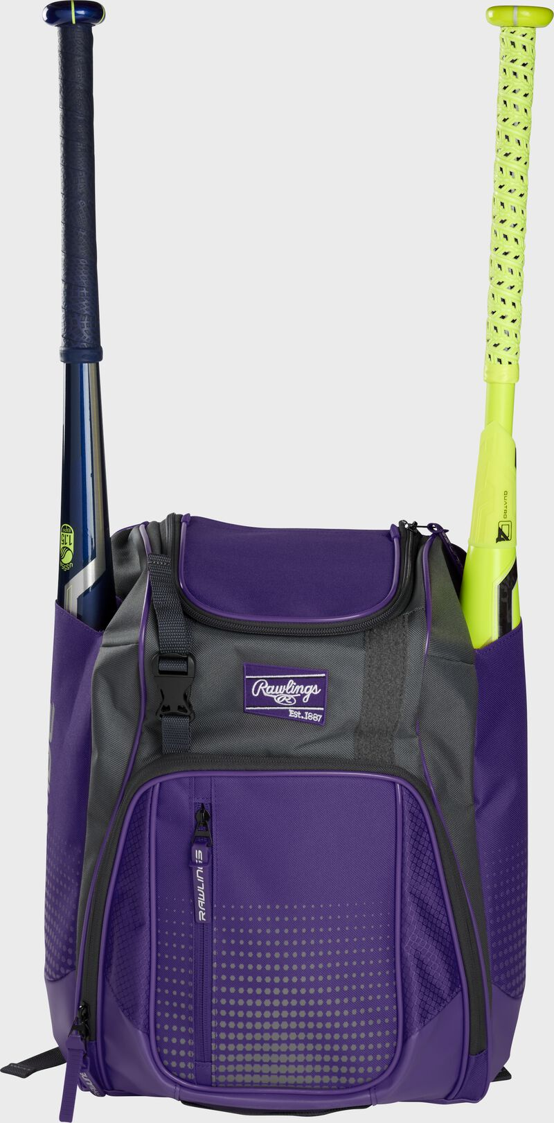 Front of a purple Rawlings Franchise baseball backpack with two bats in the side sleeves - SKU: FRANBP-PU