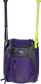 Front of a purple Rawlings Franchise baseball backpack with two bats in the side sleeves - SKU: FRANBP-PU image number null