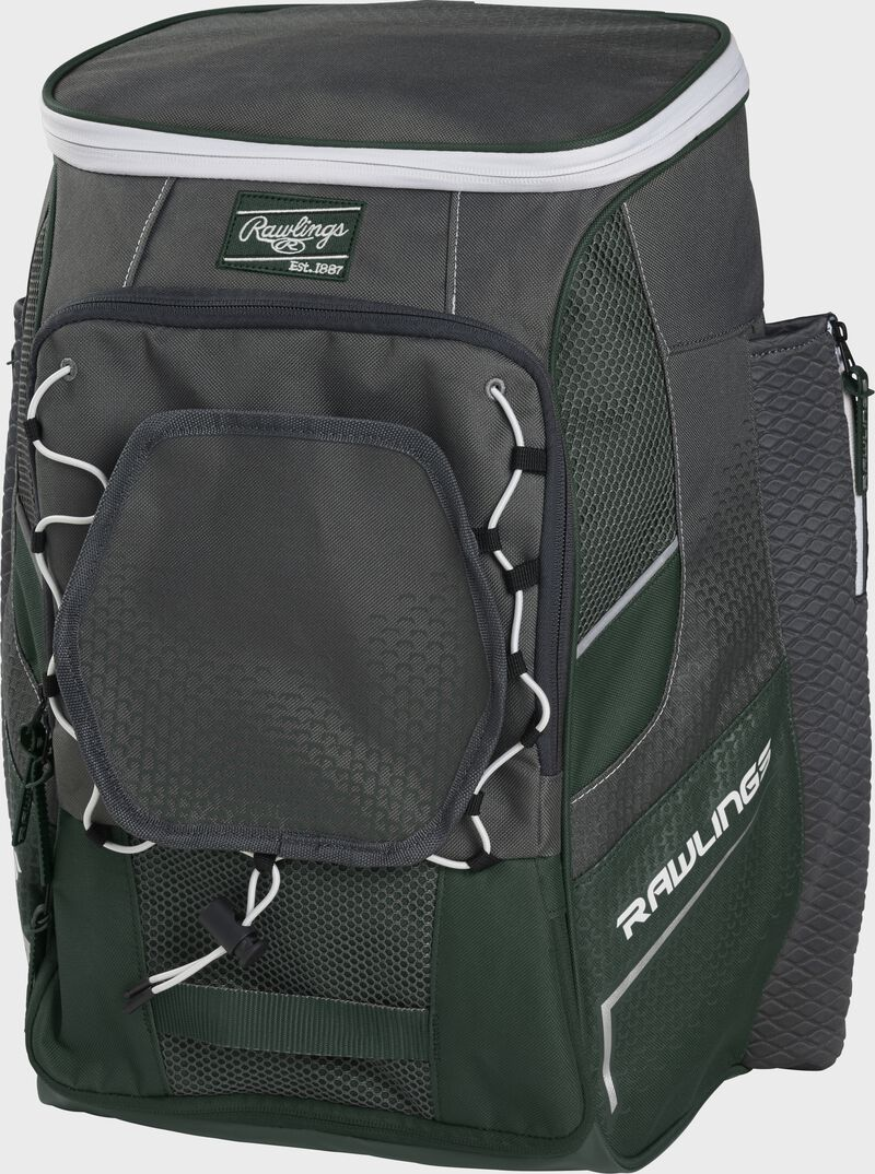 Front right angle of a dark green Impulse backpack - SKU: IMPLSE-DG