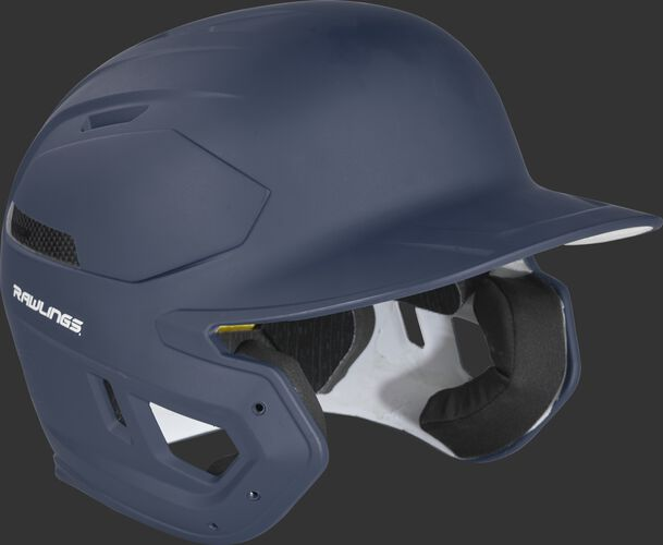 Right angle of a matte navy CAR07A Rawlings MACH Carbon helmet