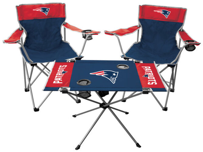 Front of Rawlings Navy and Red NFL New England Patriots 3-Piece Tailgate Kit With Two Kickoff Chairs, An Endzone Table, And A Transport Bag With Team Logo SKU #01041076511