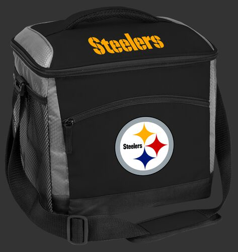 A black Pittsburgh Steelers 24 can soft sided cooler with screen printed logos - SKU: 10211082111