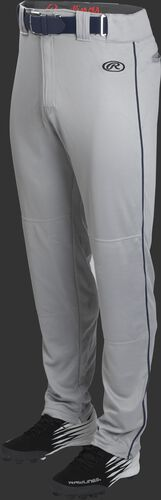 Front of Rawlings Blue Gray/Navy Adult Launch Piped Semi-Relaxed Baseball Pant - SKU #LNCHSRP-BG/B-88