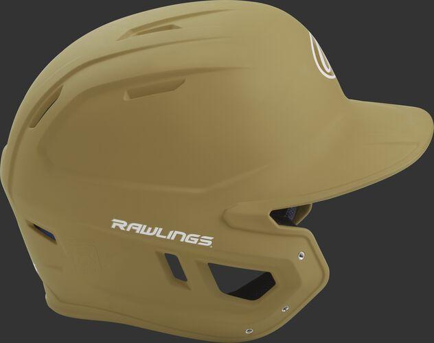Right side of a matte Vegas gold MACH helmet