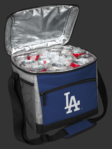 An open Los Angeles Dodgers 24 can cooler filled with ice and drinks - SKU: 10200011111
