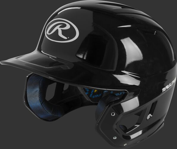 Left angle view of a black MCH01A Mach high school batting helmet