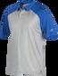 A gray Rawlings colorsync polo with royal sleeves - SKU: CSP-BG/R image number null