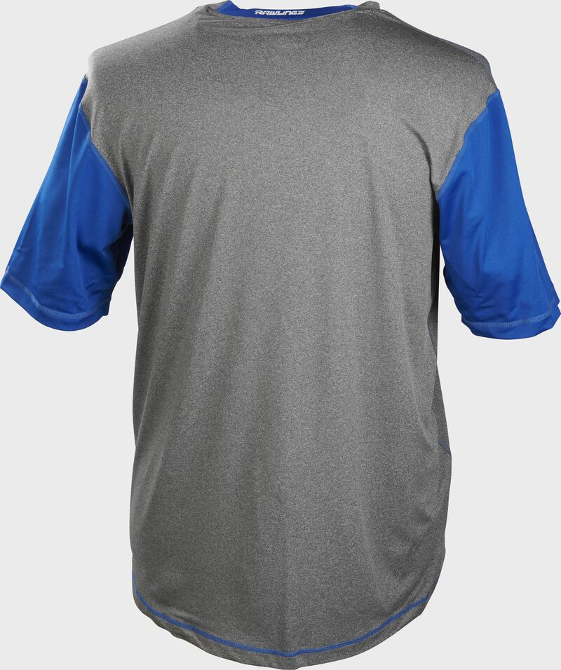 Back of a gray Rawlings Hurler short sleeve shirt with royal sleeves - SKU: HSSP-GR/R
