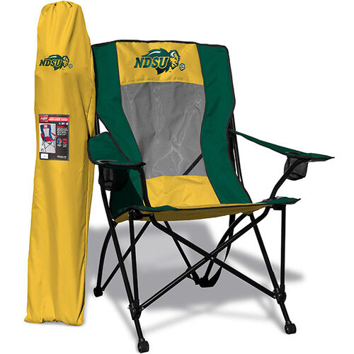 Front of Rawlings Green and Yellow NCAA North Dakota State Bison High Back Chair With Team Logo SKU #09403158518