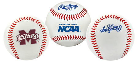 3 views of a NCAA Mississippi State Bulldogs baseball with a team logo, NCAA logo and Rawlings logo