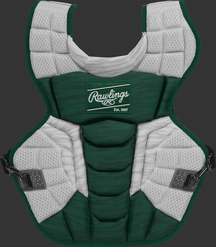 A dark green/white CPV2N Rawlings Velo 2.0 intermediate chest protector with a striped pattern