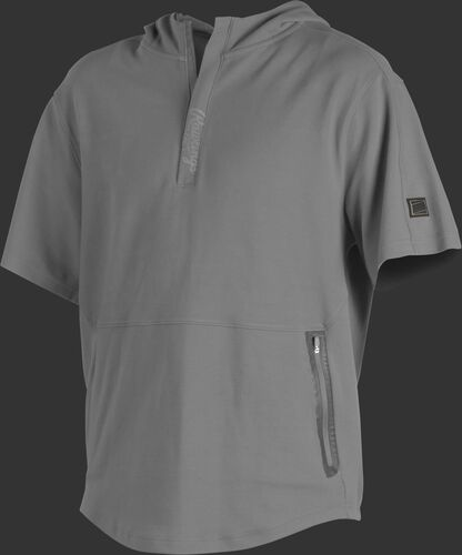 A light gray Gold Collection short sleeve hoodie with a 1/4 zip and gray welded zipper pockets - SKU: GCJJ-BG