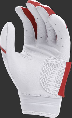 White palm of a white/scarlet FPWPBG Rawlings Workhorse women's batting glove