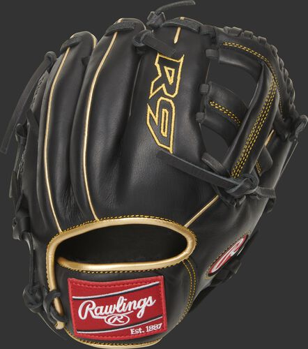 Back of a black 9.5-inch R9 Series infield training glove with gold welting and red Rawlings patch - SKU: R9TRBG