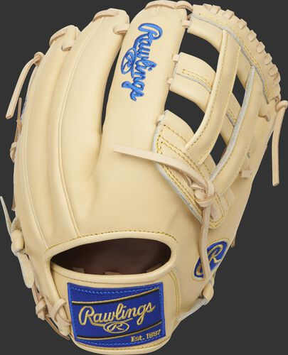 Back of a camel Heart of the Hide R2G Kris Bryant pattern glove with a royal Rawlings patch - SKU: PRORKB17