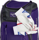 Two batting gloves hanging on the front Velcro strap of a Franchise baseball backpack - SKU: FRANBP-PU image number null