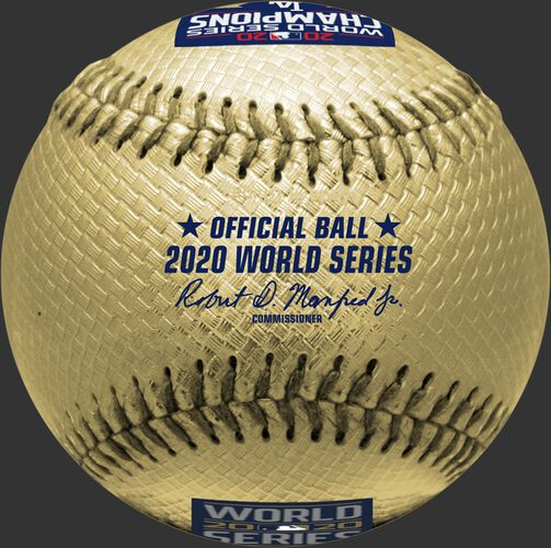 A 2020 Los Angles Dodgers Gold World Series champions replica baseball with the offical Baseball of MLB stamp - SKU: 35010032286