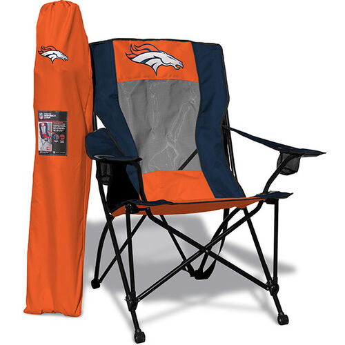 Front of Rawlings Navy and Orange NFL Denver Broncos High Back Chair With Team Logo SKU #09211066518