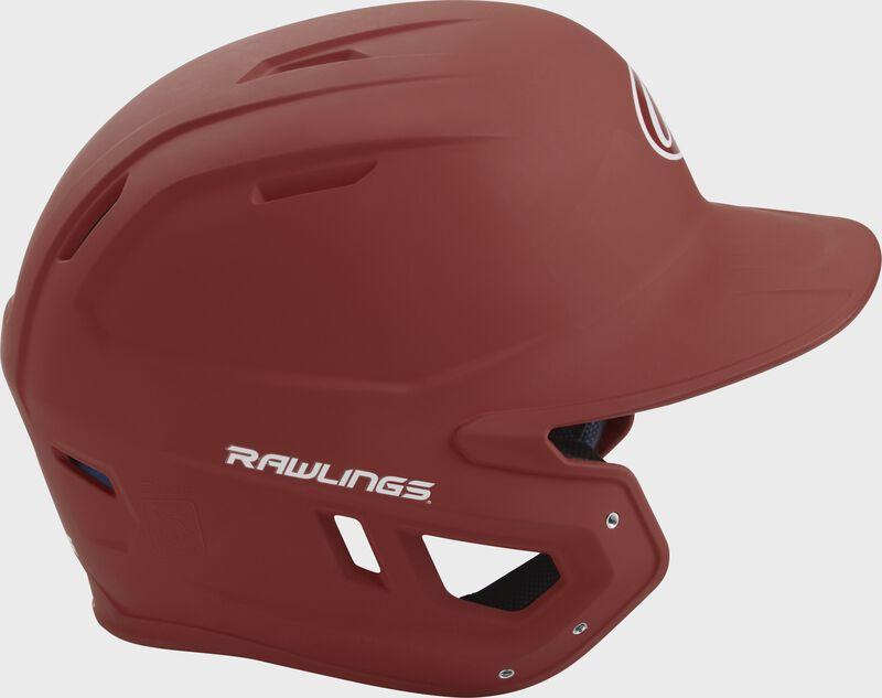 Right side of a matte cardinal MACH helmet