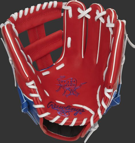 Scarlet palm of a Rawlings Texas Rangers HOH glove with royal stamping and white laces - SKU: RSGPRO204W-1TEX