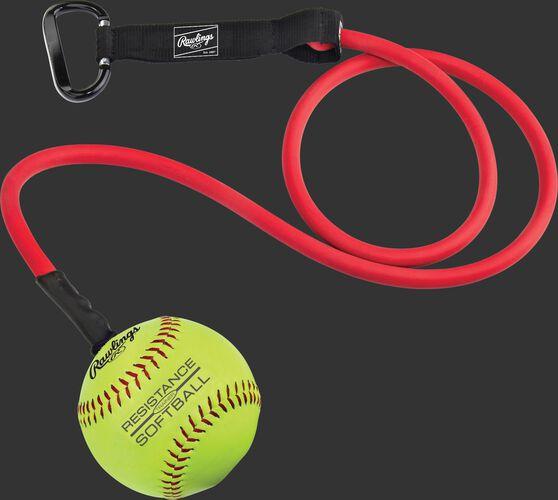 RESISTSOFTBALL red resistance training band with a softball on the end SKU #RESISTSOFTBALL