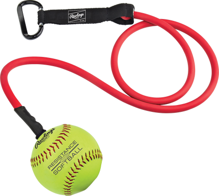 RESISTSOFTBALL red resistance training band with a softball on the end