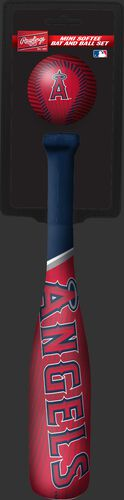 Rawlings Los Angeles Angels Softee Mini Bat and Ball Set in Team Colors With Team Name and Logo On Front SKU #01160001114