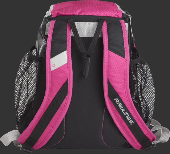 Back of a pink R400 Rawlings youth backpack with pink shoulder straps